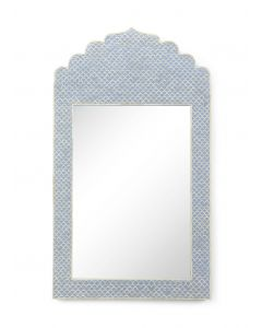 Blue and Cream Bone Inlay Mirror With Fish Scale Design - ON BACKORDER UNTIL MID-OCTOBER 2019