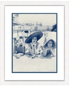 Blue and Sepia Beach Beauties V Framed Wall Art-Available in a Variety of Sizes