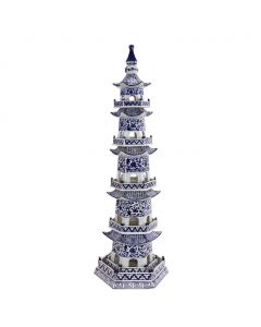 Blue and White 5 Tier Decorative Pagoda Statue With Twisted Vine Motif