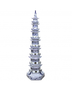 Blue and White 7 Tier Decorative Pagoda Statue With Twisted Vine Motif