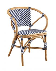 Set of 2 Blue and White Bistro Style Riviera Dining Armchairs - OUT OF STOCK