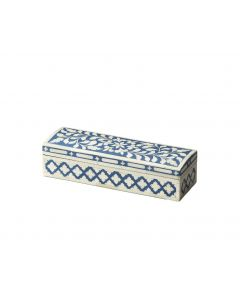 Blue and White Bone Inlay Mosaic Floral Pattern Decorative Storage Box