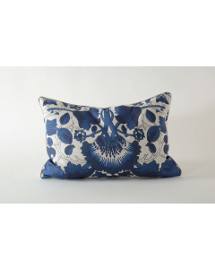 Blue and White Botanical Pattern Watermark Natural Linen Lumbar Pillow