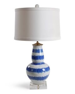 Blue and White Brushstroke Striped Double Gourd Lamp