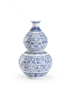 Blue and White Ceramic Floral Double Gourd Vase