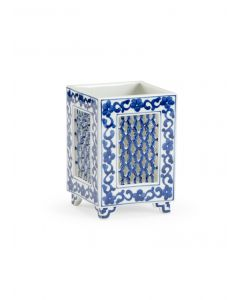 Blue and White Ceramic Floral Square Cachepot