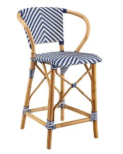 Blue & White French Bistro Chevron Rattan Riviera Counter Stool