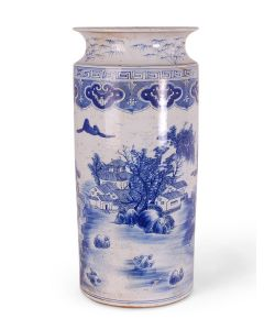 Blue and White Chinoiserie Landscape Porcelain Umbrella Stand