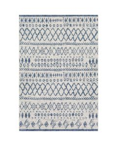 Large Blue and White Diamond Trellis Distressed Indoor/Outdoor Rug
