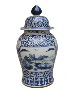 Blue and White Dynasty Temple Jar With Floral Medallion Landscape