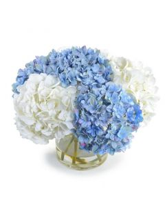 Blue and White Faux Hydrangea Arrangement in Glass Cylinder