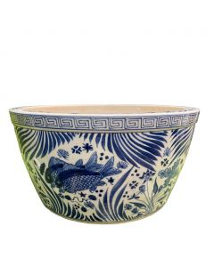 Blue And White Fish Lotus Bowl With Greek Key Trim