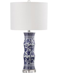 Blue and White Floral Ceramic Table Lamp, Set of 2