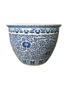 Blue and White Floral Design Porcelain Planter - Available in 2 Sizes