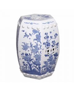 Blue and White Hexagonal Floral Bird Garden Stool