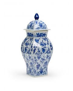 Blue and White Floral Hand Painted Lidded Ceramic Vase