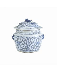 Blue and White Floral Lidded Rice Jar