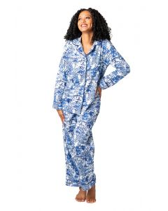 Blue and White Garden Party Sateen Full Pajama Set