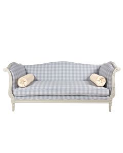 Blue and White Gingham Sofa