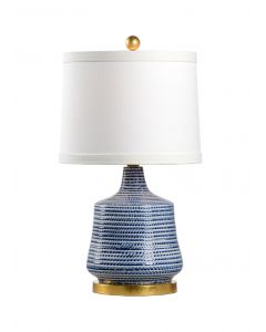 Blue and White Glazed Ceramic Beehive Lamp - ON BACKORDER UNTIL APRIL 2021