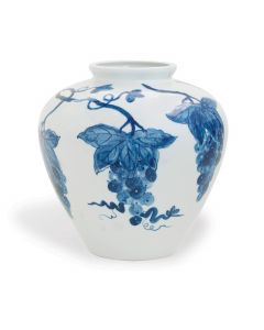 Blue and White Grape Design Painted Porcelain Vase