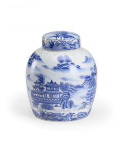 Blue and White Hand Painted Ceramic Jar With Chinoiserie Landscape Design - ON BACKORDER UNTIL MAY 2021