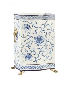 Blue and White Hand Painted Floral Tole Wastebasket - ON BACKORDER UNTIL JULY 2020