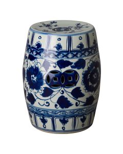 Blue and White Hand Painted Glazed Peony/Hibiscus Garden Stool