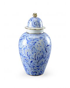 Blue and White Marble Covered Urn - Large