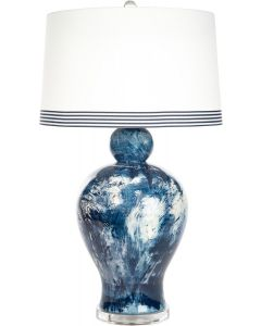 Blue and White Marbled Ceramic Table Lamp with Striped Shade and Clear Base