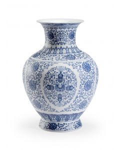 Blue and White Matte Floral Chinoiserie Ceramic Vase