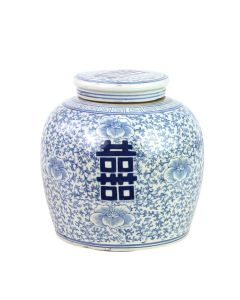 Blue And White Ming Double Happiness Jar - OUT OF STOCK
