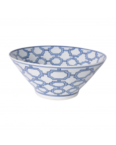 Blue And White Octagonal Window Design Decorative Ceramic Bowl