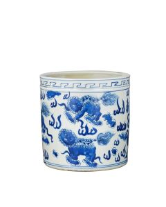 Blue And White Orchid Pot Foo Dog Motif - ON BACKORDER UNTIL MAY 2021