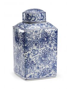Blue and White Paisley Porcelain Canister