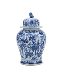 Blue And White Peony Temple Ginger Jar With Lion Handles