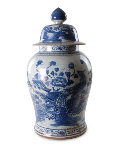 Blue and White Porcelain Birds and Flowers Ginger Jar