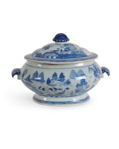 Blue and White Porcelain Canton Design Lidded Tureen