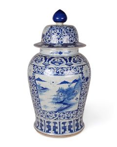 Blue and White Porcelain Canton Landscape Ginger Jar