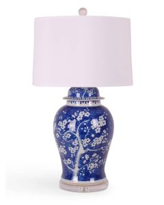 Blue and White Porcelain Cherry Blossom Temple Jar Table Lamp With Acrylic Base
