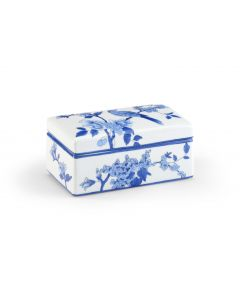 Blue And White Porcelain Decorative Box With Bird Design