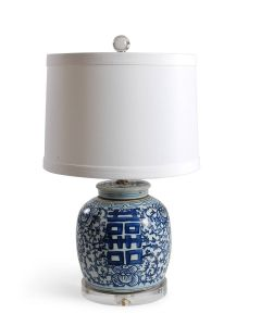 Blue and White Porcelain Double Happiness Canton Jar Table Lamp With Acrylic Base - ON BACKORDER UNTIL APRIL 2021