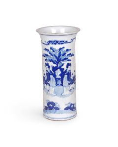 Blue and White Porcelain Figure Design Beaker Vase
