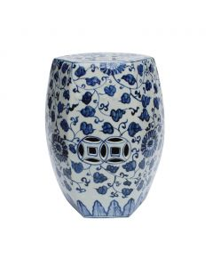 Blue and White Porcelain Garden Seat with Grape Vine Design