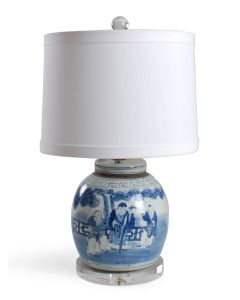 Blue and White Porcelain Ginger Jar Lamp With Figures Design and Acrylic Base