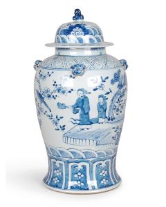 Blue and White Porcelain Ginger Jar With Figures Design and Foo Dog Lid