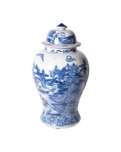 Blue and White Porcelain Ginger Jar With Landscape Design