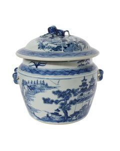 Blue And White Porcelain Lidded Rice Jar With Chinoiserie Landscape Motif