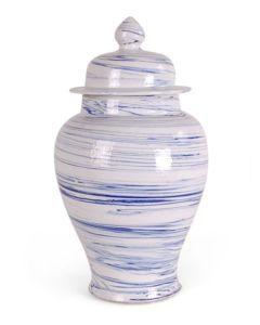 Blue and White Porcelain Marbleized Swirl Ginger Jar