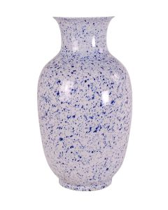 Blue and White Speckle Porcelain Splatter Melon Vase